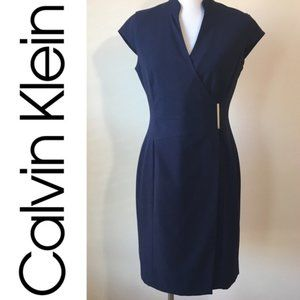 Calvin Klein Navy Blue Mandarin Wrap Dress